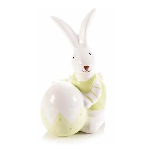 Figurina Iepuras Paste din ceramica verde alb 8 cm x 7 cm x 12 h