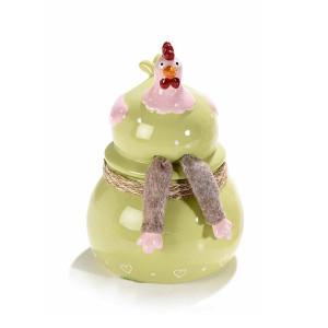 Borcan decorativ model Gaina ceramica verde roz Ø 12 cm x 18 h