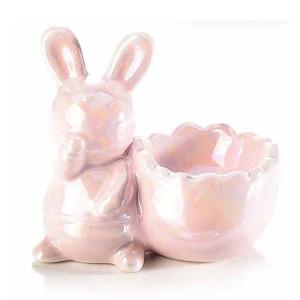 Suport ou ceramica roz sidef 8,5 cm x 5 cm x 8 h