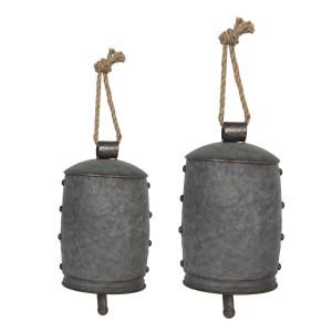 Set 2 clopotei din metal gri Ø 14 cm x 23 h Ø 11 cm x 18 h