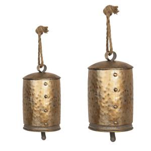 Set 2 clopotei din metal aurii Ø 14 cm x 23 h Ø 11 cm x 18 h