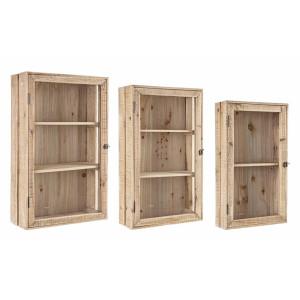 Set 3 dulapuri suspendabile lemn natur cu usi din sticla 33 cm x 11.5 cm x 58h; 39 cm x 15 cm x 65h; 45 cm x 18 cm x 71h