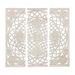 Decoratiune de perete din lemn alb antichizat Vishal 120 cm x 1.7 cm x 120 h