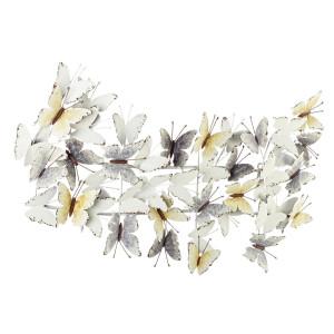 Decoratiune din metal alb vintage pentru perete Mariposa 91.5 cm x 6 cm x 55 h