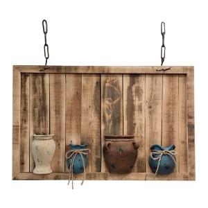 Decoratiune suspendabila perete lemn natur cu 4 vaze 100 cm x 14 cm x 60 h