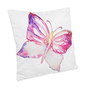 Perna decorativa din textil alb roz Butterfly 40 cm x 40 cm