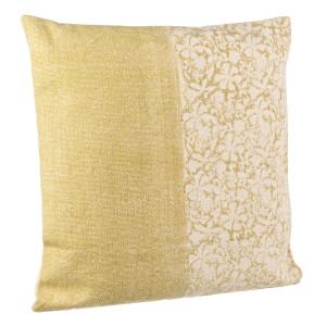 Perna decorativa din bumbac alb galben Larissa 60 cm x 60 cm
