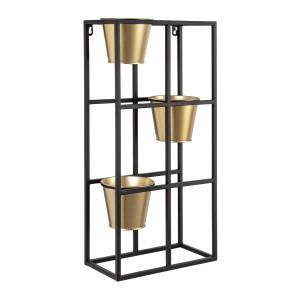 Etajera perete 3 suporturi ghiveci fier negru auriu