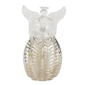 Suport lumanare din sticla argintie model Inger Ø 7 cm x 13 h