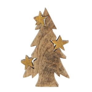 Brad din lemn natur auriu 10 cm x 3 cm x 16 h