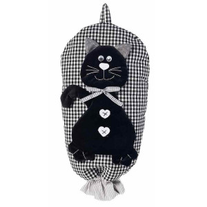 Dispenser depozitare pungi din textil negru alb model Pisica 25 cm x 44 h