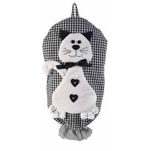 Dispenser depozitare pungi din textil alb negru model Pisica 25 cm x 44 h