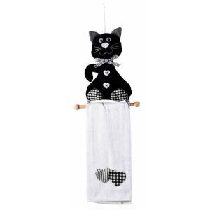 Set suport si prosop din textil negru alb model Pisica 19.5 cm x 52 h