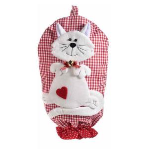 Dispenser depozitare pungi din textil alb rosu model Pisica 25 cm x 44 / 47 h