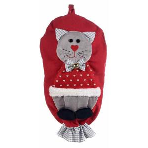 Dispenser depozitare pungi din textil rosu alb model Pisica 25 cm x 44 / 47 h