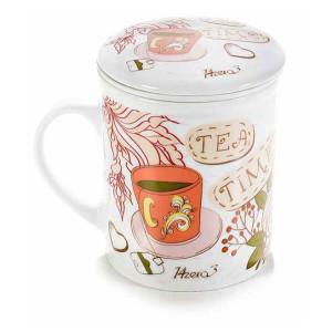 Cana cu capac si infuzor din portelan Tea Time Ø 8 cm x 10.5 h 290 ml
