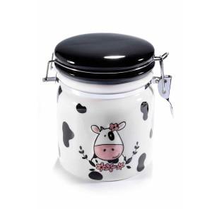 Borcan cu inchidere ermetica din ceramica alb negru 13.5 cm x 11 cm x 14 h
