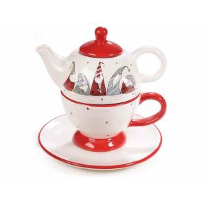 Set ceainic cu ceasca din ceramica model Craciun 17x11x16 cm / 300 ml