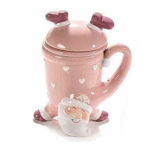 Cana ceramica roz cu infuzor model Mos Craciun Ø 9x12/16 cm