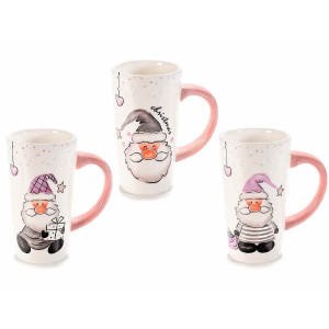 Set 3 cani din ceramica model Mos Craciun Ø 9x16 cm