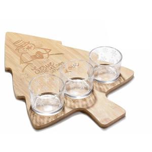 Platou din lemn cu 3 boluri sticla model Brad 2x38 cm