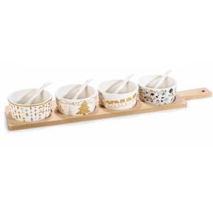 Platou din lemn cu 4 boluri ceramica model Craciun 10x46 cm