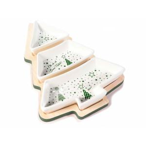Platou din lemn cu 3 compartimente din ceramica model Craciun 20x28 cm