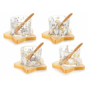 Set 4 boluri din sticla cu suport lemn model Craciun 11x10 cm