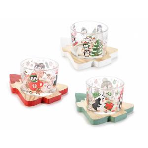 Set 3 boluri pentru aperitive din sticla cu suporturi lemn model Craciun 10x13 cm