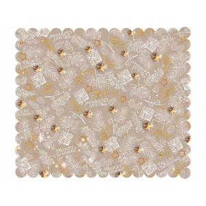 Fata de masa din textil impermeabil bej alb auriu model Craciun 170x140 cm