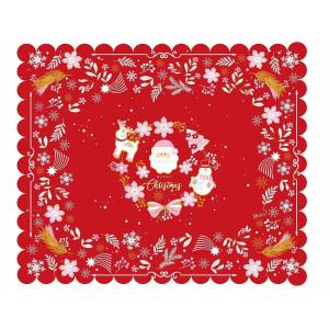 Fata de masa din textil impermeabil alb rosu roz model Craciun 170x140 cm