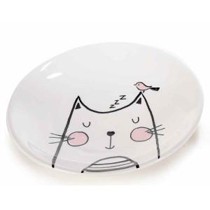 Farfurie din ceramica alb negru roz model Pisica Ø 20 cm