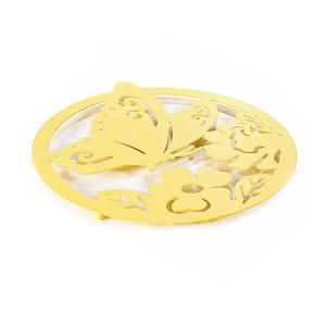 Suport pentru vase fierbinti din metal galben Ø 22 cm