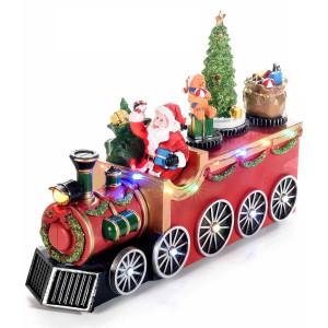 Trenulet muzical si leduri model Craciun 25x8x17 cm