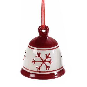 Clopotel suspendabil din ceramica alba rosie model Fulg Ø 5x5 cm