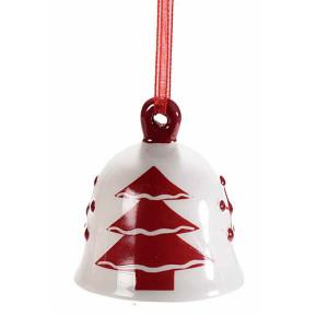 Clopotel suspendabil din ceramica alba rosie model Brad Ø 5x5 cm