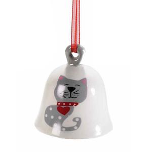 Clopotel suspendabil din ceramica alba rosie gri model Pisica Ø 5x5 cm