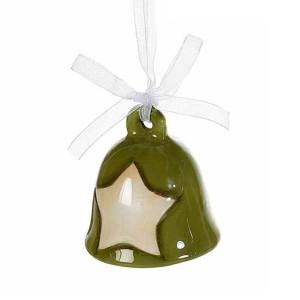 Clopotel suspendabil din ceramica verde crem model Steluta Ø 5x5 cm