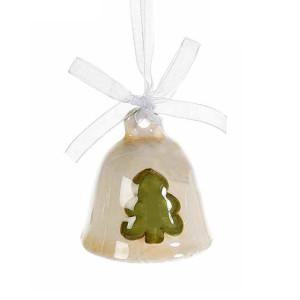 Clopotel suspendabil din ceramica crem verde model Brad Ø 5x5 cm