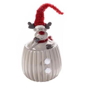 Borcan Craciun ceramic decorativ cu capac model Ren gri rosu Ø 12 cm x 27 h