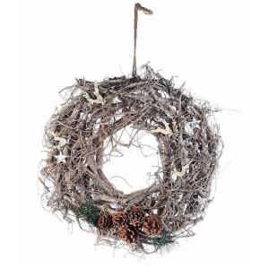 Coronita Craciun din lemn natur Ø 47 cm