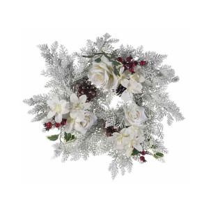 Coronita Craciun cu flori albe si conuri brad Ø 40 cm