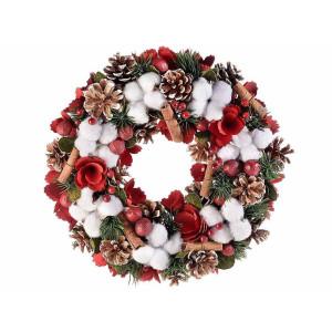 Coronita Craciun decorata cu brad artificial si flori bumbac Ø 33 cm