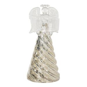 Suport lumanare din sticla aurie argintie model Inger Ø 7 cm x 16 h