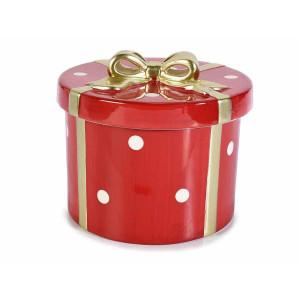 Cutie din portelan rosu alb auriu Ø17.5x14.5 cm