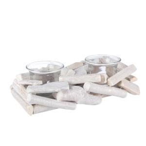 Candela din lemn alb cu 2 suporturi lumanari 21x11x6 cm