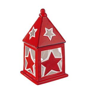 Candela ceramica rosie alba model Casuta 11x11x21 cm