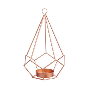 Suport lumanare din metal auriu rose Kubik Ø 13x22 cm