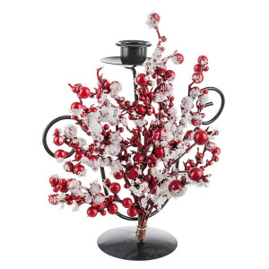 Sfesnic din metal negru decorat cu fructe padure rosii 19x5x22 cm