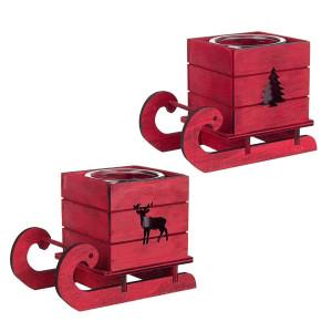 Set 2 suporturi lumanari din lemn rosu si sticla model Sanie 16x9x12 cm